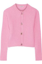 Shop Miu Miu Cropped Ribbed Cashmere Cardigan from stores. Pink Cardigan, Cashmere Cardigan, Cropped Cardigan, Elin Kling, Go Pink, Layered Tops, Fall Winter Outfits, Cardigans For Women, Pink Tops