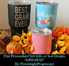 Find #Personalized #Yeti cups at Xcel Designs Come enter our #Giveaway to win a free cup on the blog! #ad http://parentinginprogress.net/xcel-designs/