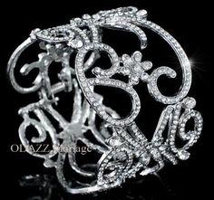 Bracelet mariage manchette cristal Art nouveau