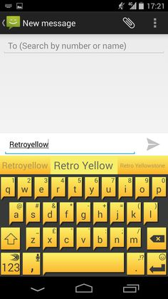 Retro Yellow - punch up your keyboard with this theme from the SwiftKey Store, available on Android.