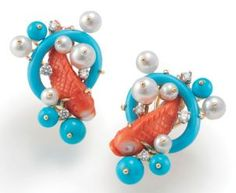 Turquoise, coral, pearls & diamonds created these beautiful earrings...Seaman Schepps - Vintage Jewelry.