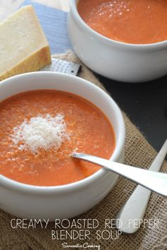 Creamy Roasted Red Pepper Blender Soup - Sarcastic Cooking Canned coconut milk, in place of heavy cream, and it's #vegan!
