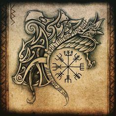 Viking Tattoo Sleeve, Viking Tattoo Symbol, Norse Tattoo, Celtic Tattoos, Viking Tattoos, Sleeve Tattoos, Dark Tattoo, Tattoo On, Head Tattoos