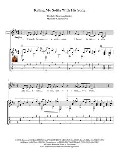 Killing Me Softly guitar solo sheet music Killing Me Softly, is a song composed by Charles Fox with lyrics by Norman Gimbel a number-one hit in US and Canada in 1973. Here is an arrangement for classical guitar or acoustic guitar solo,  with tablature, some finger position suggestions and downloadable mp3 for audio help.