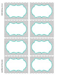 Turquoise Chevron Labels  Print your own Labels  - 5 versions. $5.00, via Etsy.