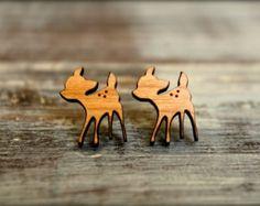 Fawn Studs, Laser Cut Wood Earrings