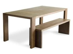 Gus Modern Plank Dining Table & Bench - modern - dining tables - Bobby Berk Home Wooden Kitchen Bench, Kitchen Benches, Dining Table With Bench, Dining Room Table, Dining Set, Fire Table, Plank Table, Table Legs, Contemporary Dining Table