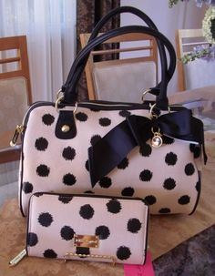 BETSEY JOHNSON IKAT DOT (POLKA DOT) IVORY & BLACK  SATCHEL + WALLET SET NWT $166