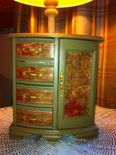 Hand Painted Green Bow Front Jewelry Box Armoire by Reimaginations, $55.00 #handmadegifts #Christmasgiftsforher