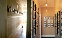 Picture gallery ideas - I especially like the one on the left ... very original & you can change up the pictures/frames anyway you like it :)