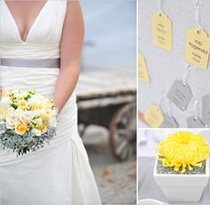 Weddings - I love the pale grey sash on the brides dress & the grey foliage in the bouquet, surrounding the yellow & ivory roses.