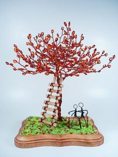 Wire Bead Family Sculpture Tree in Fall