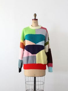 1980s Colorful Print Vintage Sweater