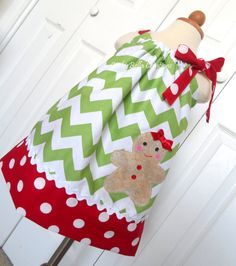 Christmas Gingerbread Cookie Red & Green pillowcase dress