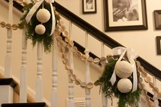 garland-apparently there are no instructions, but many other sites show how to punch the scallop circles-I think there are 8, and glue onto string for a garland and wrap foam balls in white linen and tie with cedar-very pretty