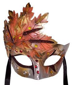 Autumn Leaf Venetian  Mask - Terracotta