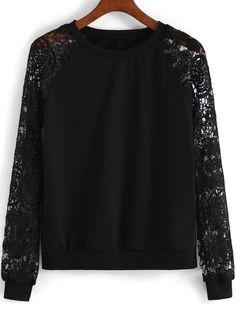 sweat-shirt décontracté dentelle -Noir -French SheIn(Sheinside)