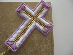 Plastic Canvas Cross Bookmark by LORKEY1981 on Etsy, $3.00