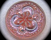 """BiG PAiR Czech glass buttons - Peach Pink Iridescent Fairy Flower with Silver Luster - Mirror Back 1 1/16"""" x2"""