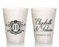 Cups Wedding Cups Monogrammed Cups Wedding Favor Engagement Custom Cup Anniversary Plastic Wedding Cup Frosted Cup 1663 by SipHipHooray