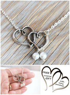Heart Necklace Jewelry Two Hearts Necklace White Pearls Bridesmaid Gift Jewelry