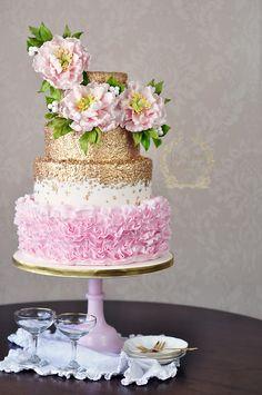 Peonies sequins and ruffles wedding cake design.