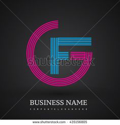 Letter GF or FG linked logo design circle G shape. Elegant red and blue colored letter symbol. Vector logo design template elements for company identity. - stock vector
