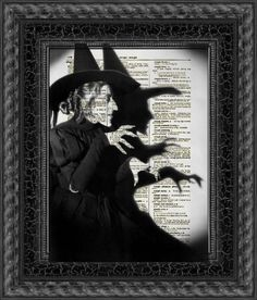 Wicked Witch printed onto a page of an antique Dictionary by Etsy shop Reimagination Prints #Halloween #Upcycle