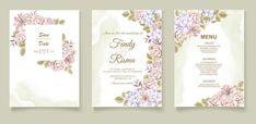 Premium Vector | Elegant wedding invitation floral design Wedding Invitation Card Template, Elegant Wedding Invitations, Floral Design, Templates, Frame, Picture Frame, Stencils, Floral Patterns, Vorlage