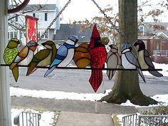 Stain+Glass+Bird+on+a+Wire+#2+Suncatcher+(Real+Glass) Stained Glass Birds, Stained Glass Projects, Stained Glass Patterns, Glass Animals, Art 3d, Suncatchers, Home Deco, Mosaics, Affair