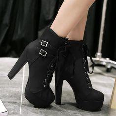 114d8403b6097 Lace Up Round Toe Platform Stiletto High Heels Short Martin Boots