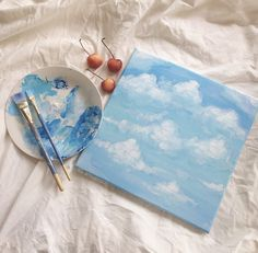 Image about art in pics by - on We Heart It Simple Canvas Paintings, Easy Canvas Art, Small Canvas Art, Mini Canvas Art, Cute Paintings, Kunst Inspo, Art Inspo, Aesthetic Painting, Aesthetic Art