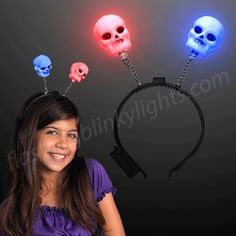 Light Up Skeleton Head Boppers are Great for Halloween & More! Shop Over 1000 Light Up Products & LED Novelty Gifts at FBL. Voodoo Halloween, Novelty Gifts, Light Up, The Darkest, Headbands, Glow, Skull, Head Bands, Sparkle