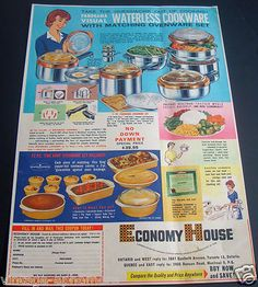 1964 Fire King Panorama Waterless Cookware Canada Ad Ovenware Set |