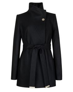 Short wrap coat - Black | Jackets & Coats | Ted Baker #obsessed #inlove