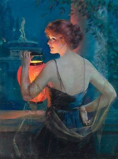Gene Pressler - Young Woman with Lantern, 1921