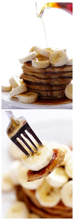 Banana Pancakes -- pretend like it's the weekend, and dive into these crazy delicious (and easy!) pancakes for breakfast! | gimmesomeoven.com #breakfast
