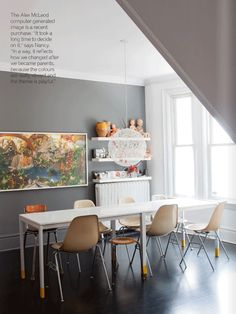 I love so much of this! the light fixture, the yellow painted legs of the table, the art, the floating shelves... glossy floor... shall I go on?