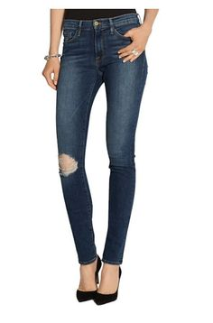 FRAME DENIM Forever Karlie Long Midrise Ripped Slim Skinny Jeans Pants Blue $190 #Frame #SlimSkinny