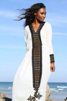 """people /// traditional hand embroidered """"Telefe"""" Ethiopian and Eritrean dress"""