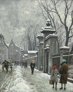 fischer, paul gustave - Winter motif from Kongens Have in Copenhagen Old Paintings, Landscape Paintings, Victorian Street, Fisher, Japanese Art Prints, Cityscape Art, City Painting, Classical Art, Winter Art