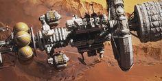 "Fictional space DSEV Kronos 1Deep Space Exploration Vehicle ""Kronos 1″ in Mars orbit, above Valles Marineris."