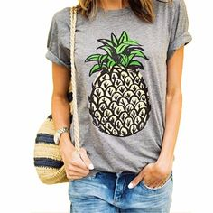Summer Women T Shirt Novelty Brief Pineapple Pattern Print Loose T-Shirts O-neck Fashion Wild Top Tees