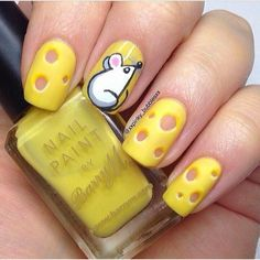 Mouse and cheese #nails. Love the use of negative space as the holes in the Swiss cheese.