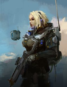 Woman soldier and her drone   digital art