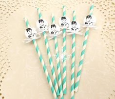 Audrey Hepburn Party straws- Tiffany and Co Theme- Breakfast at Tiffanys on Etsy, $5.95
