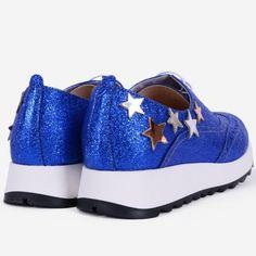 Pantofi Oxford din piele naturala albastri Stars