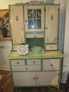 Art Deco Kitchen Cabinet With Sliding Porcelain Counter Cas