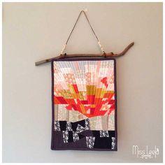 Sunrise-Miniature-Art-Quilt by Miss-Leela for the Umbrella Prints Trimmings Challenge 2015.  Made with one packet of Umbrella Prints fabric Trimmings www.umbrellaprints.com.au