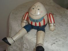 Wood Shelf sitter  Humpty Dumpty Egg doll  by SocialmarysTreasures, $8.00
